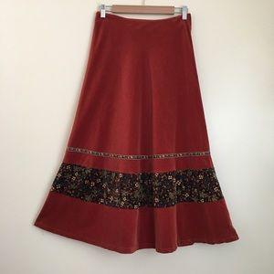 Vintage Velvet Prairie Skirt with Floral Detail